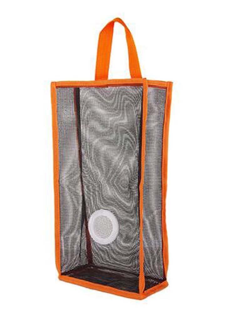 Panda Superstore Set of 2 Wall Mount Plastic Bag Holder Grid Extractable Storage Bag, Orange