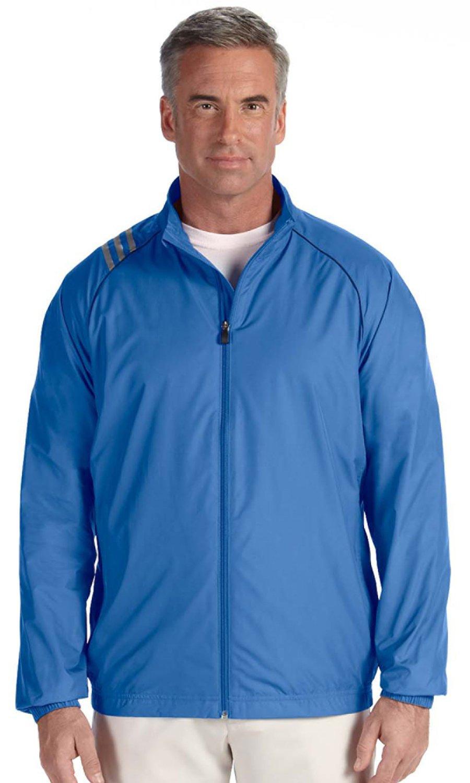 adidas Men's ClimaProof 3-Stripe Jacket, Gulf/Black, Medium