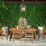 Avalon   7 Piece Acacia Wood Dining Set with Rustic Metal Accents   Perfect For Patio   with Teak Finish