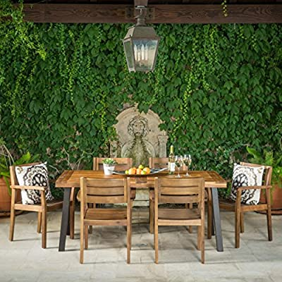 Avalon | 7 Piece Acacia Wood Dining Set with Rustic Metal Accents | Perfect for Patio | with Teak Finish - Includes: One (1) Table and Six (6) Chairs Table Dimensions: 32.25 inches deep x 69.00 inches wide x 29.50 inches high Chair Dimensions: 22.75 inches deep x 22.75 inches wide x 33.25 inches high Seat Width: 17.75 inches Seat Depth: 18.75 inches Seat Height: 17.75 inches Arm Height: 26.25 inches Material: Acacia Wood | Table Leg Finish: Rustic Metal - patio-furniture, dining-sets-patio-funiture, patio - 61TLsberEKL. SS400  -