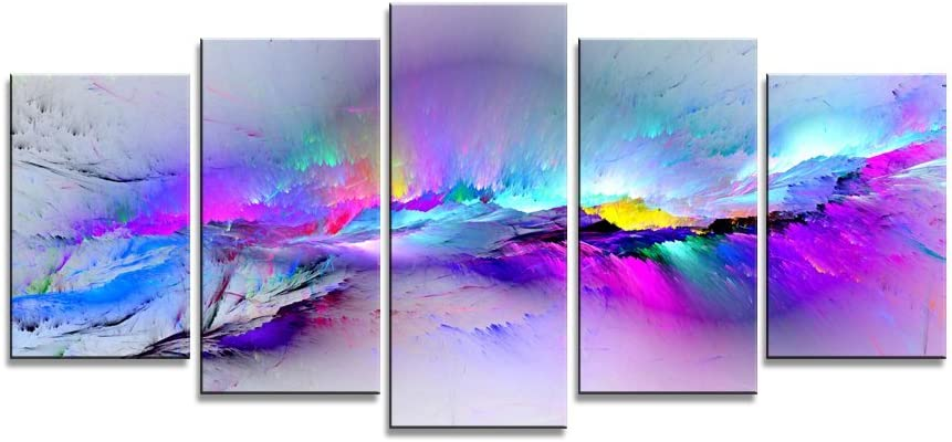 Wieco Art - Changing Colors Giclee Canvas Prints 5 Panels Modern Artwork Landscape Pictures to Photo Printed on Abstract Canvas Wall Art for Home Decorations and Wall Decor 5pcs/Set P5RAB023