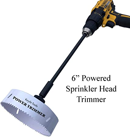 Amazon Com Keyfit Tools Power Sprinkler Head Trimmer 6 Inch Diameter Trim Your Rotors Spray Heads In Seconds For Overgrown Sprinklers Clean Appearance Adjustment Replacement Raising Drill Attachment