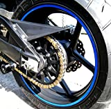 """Blue Reflective Wheel Rim Stripe Decal Tape for Motorcycle Wheels 17"""" or Car Wheels 16""""-18"""""""