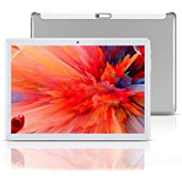 """Android Tablet 10 Inch,Tablets PC 10.1"""",HD,3G, 8.1, WiFi, GPS, GSM, Octa Core, 64GB ROM, 4GB RAM, Dual Sim Card, (Silver…"""
