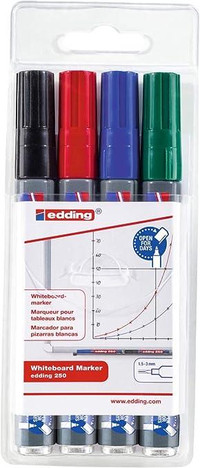 edding 250-4-S - Estuche de 4 marcadores para pizarras ...