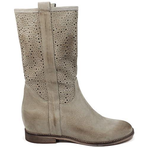 Personal Shoepper Stivali Traforati con Zeppa Interna Donna 0241 Beige Vera  Pelle Scamosciata Made in Italy  Amazon.it  Scarpe e borse 87dd74a0473