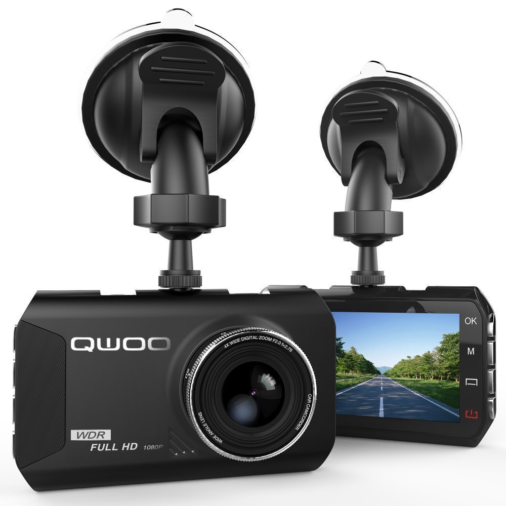 Dash Cam, QWOO Dash Camera 3'' LCD Car Dashboard Camera Vehicle Video Recorder with Full HD 1080P, 170 Degree Wide-Angle 3.8X Zoom, G-Sensor, Night Vision, WDR, Loop Recording, 24 Hours Parking Monitor