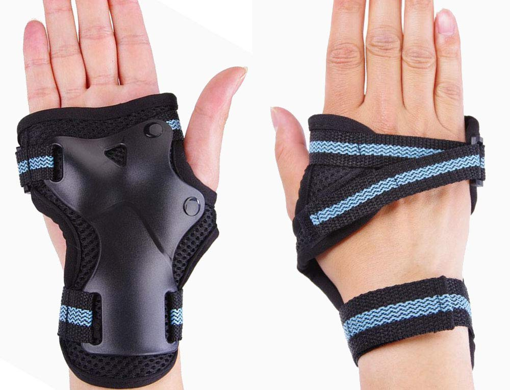 CTHOPER Wrist Guards Wrist Palms Protective Gear for Snowboarding, Skiing, Riding, Cycling, Scooter, Skateboard, Inline Skating, 1 Pair (Blue) by CTHOPER