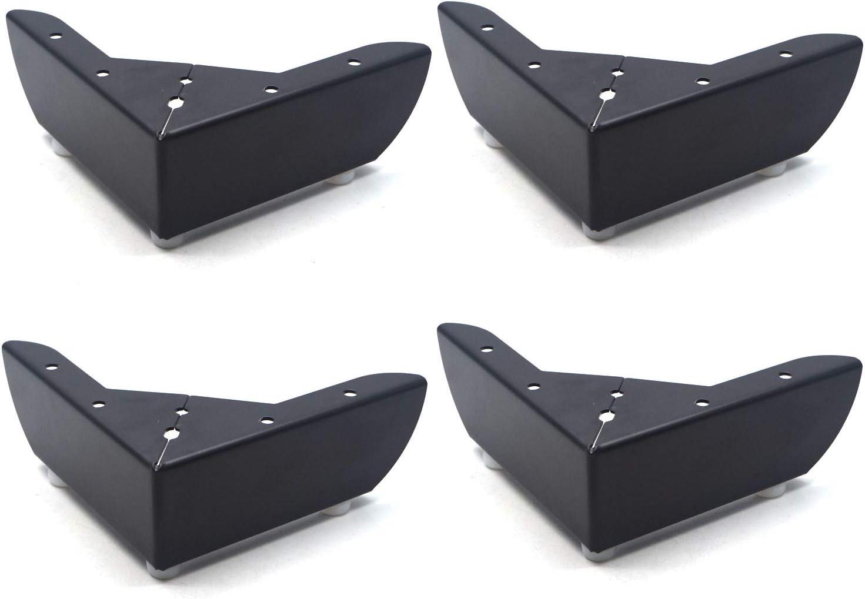 Antrader 4-Pack Minimalist Design Furniture Feet Metal Sofa Cupboard Cabinet Leg Replacement Parts, Black