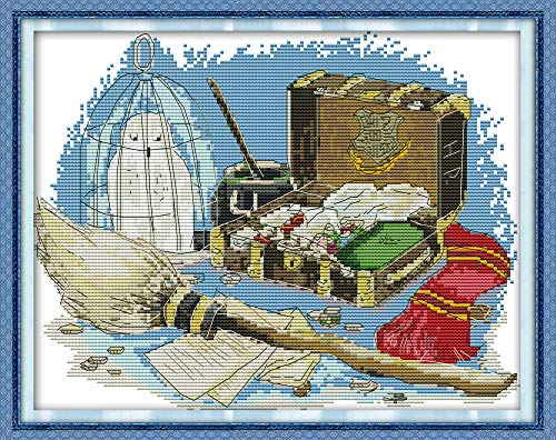 CaptainCrafts New Stamped Cross Stitch Kits Preprinted Pattern Counted Embroidery Starter Kits for Beginner Kids and Adults - Magic Box - DIY Artwork Needlecrafts (Stamped 11CT) ()