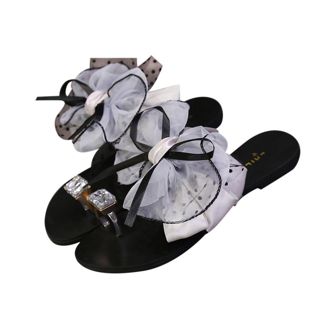 Women Flower Bow Flat Heel Toe Sandals Slipper Beach Shoes Casual Shoes B07DL99RHJ 42 M EU|Gray