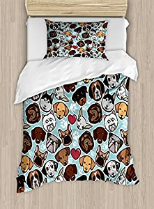 Ambesonne Dog Lover Duvet Cover Set Twin Size, Canine Breeds Bulldog Chihuahua Siberians and Retriever Love Heart Paw Prints, Decorative 2 Piece Bedding Set with 1 Pillow Sham, Multicolor