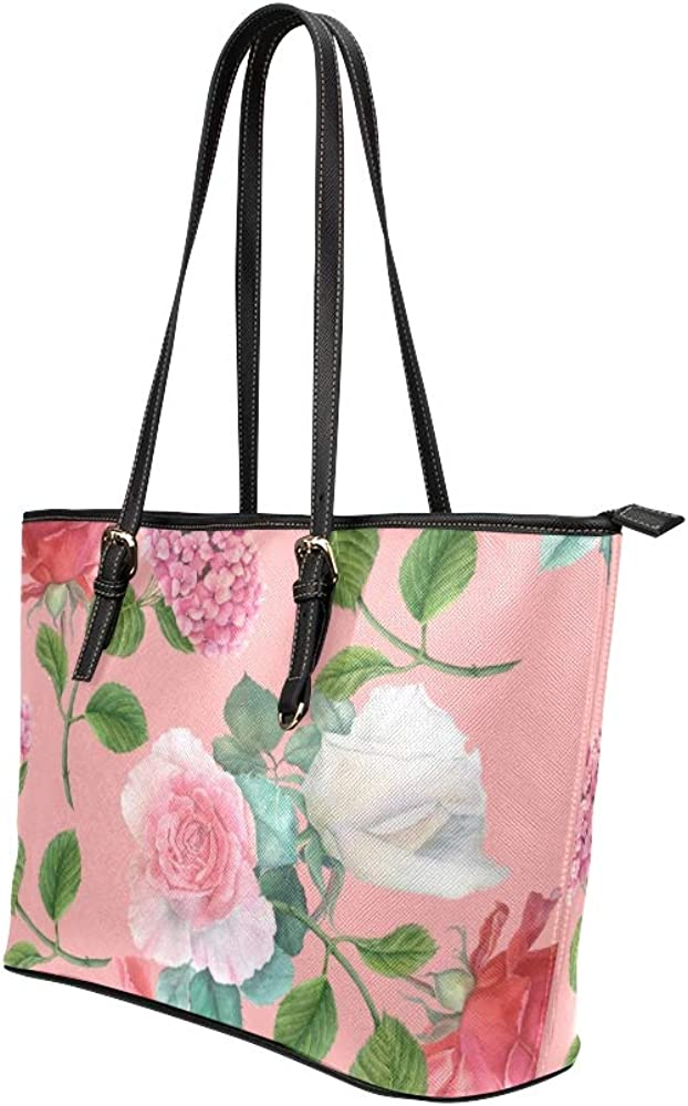 Handbags Xl Pink Retro Beautiful Hydrangea Leather Hand Totes Bag Causal Handbags Zipped Shoulder Organizer For Lady Girls Womens Cute Tote Bag