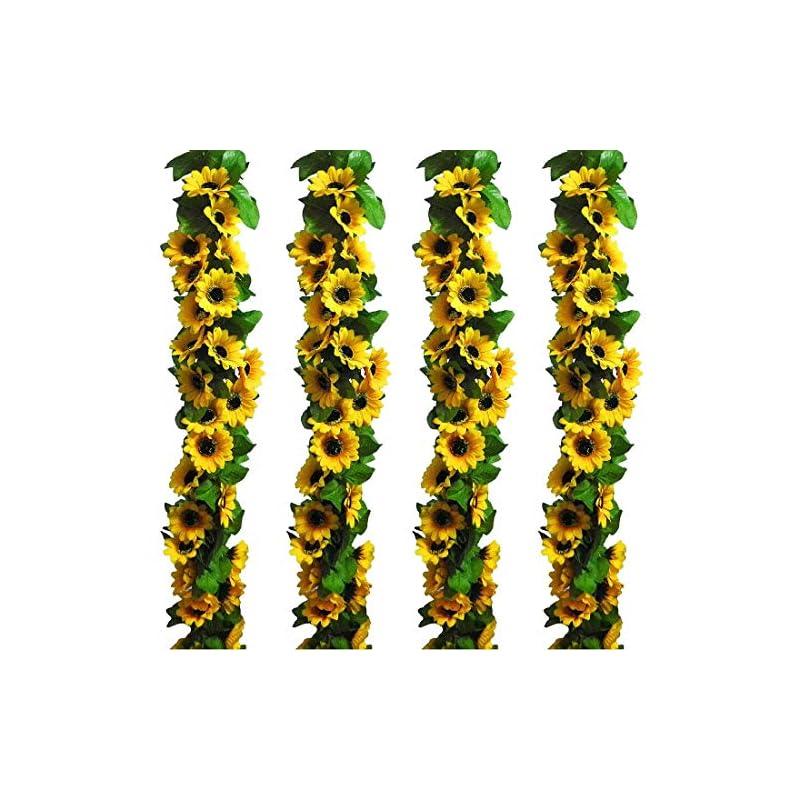 silk flower arrangements 2pc 7.2ft/pc artificial sunflower garland with 16pc sunflower heads silk flower ivy vine garland sunflower decor for home kitchen wedding arch baby shower decor