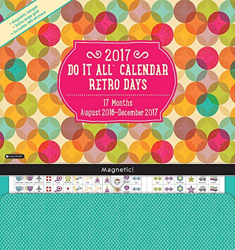 Orange Circle Studio 17-Month 2017 Do It All Magnetic Wall Calendar, Retro Days (15559)