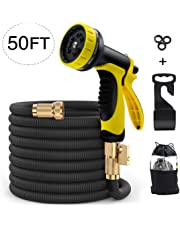 Garden Hose Expandable 100ft Water Hose with Solid Brass Connector & 3-Layer Latex Inner Tube | 10-Pattern Hose Nozzles, 3 Rubber Washer (Black) MODAR