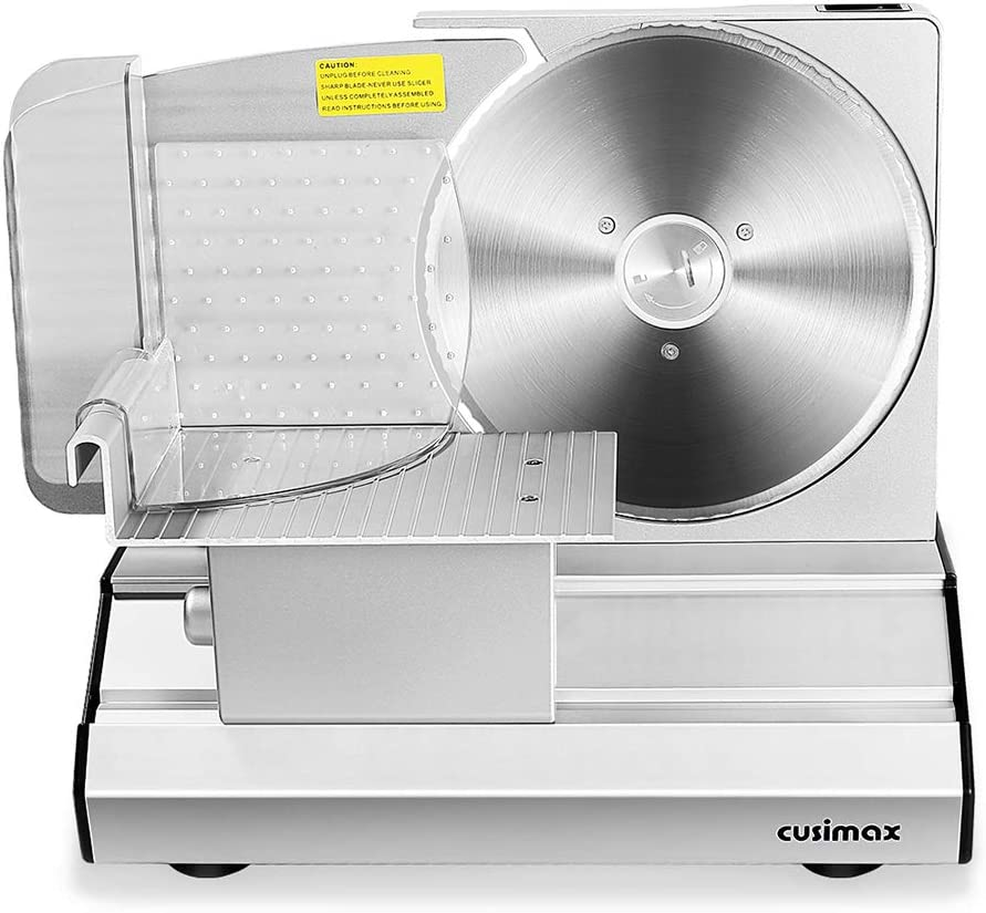 "CUSIMAX Meat Slicer, Electric Deli Food Slicer with 2 Removable 8.7"" Stainless Steel Blade, Adjustable Thickness, Food Carriage and Pusher, Non-Slip Feet, Powerful 200W Cutter for Meat, Bread, Cheese"