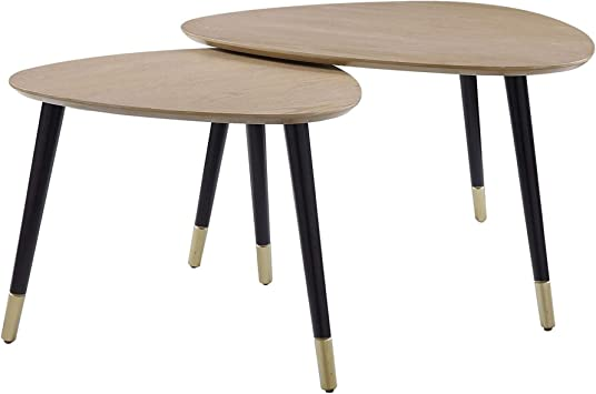 Brown and Black Benjara 2 Piece Round Nesting End Table with Casters