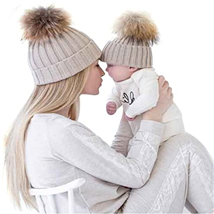 Amazon.com   Family Mom Baby Dresses Matching Outfit Knitting Beanies Hats  (Khaki a562a40e0d5