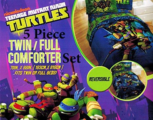 Nickelodeon Teenage Mutant Ninja Turtles Twin Reversible Comforter and Sheet Set 4 piece 100% Polyester Microfiber
