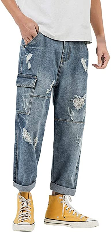 Ripped Jeans For Men Limsea Distressed Slim Fit Denim Pants Multi Pocket Straight Leg Trousers At Amazon Men S Clothing Store
