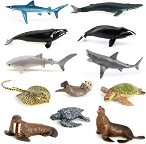Volnau Mini Sea Creature Toys 12PCS Marine Miniature Animal Figurines for Toddlers Kids Birthday Gift Plastic Fish Toys Figures Preschool Pack and Bath Sets Sea Lion Great White Shark Whale Dolphin