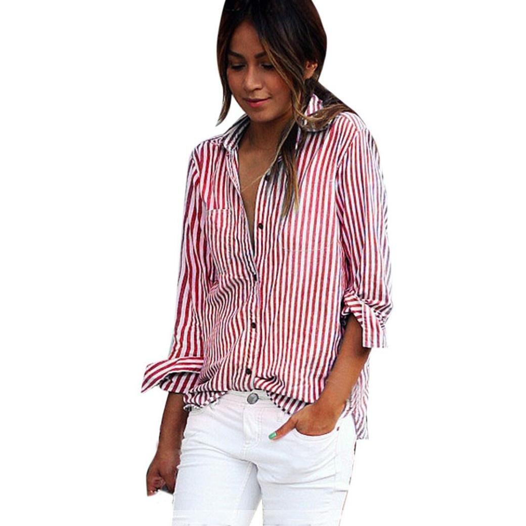 e9536e0662 Kangma Women Sexy Pockets Stripe Long Sleeve Loose Tops Blouse Button-Down  Shirts Red at Amazon Women's Clothing store: