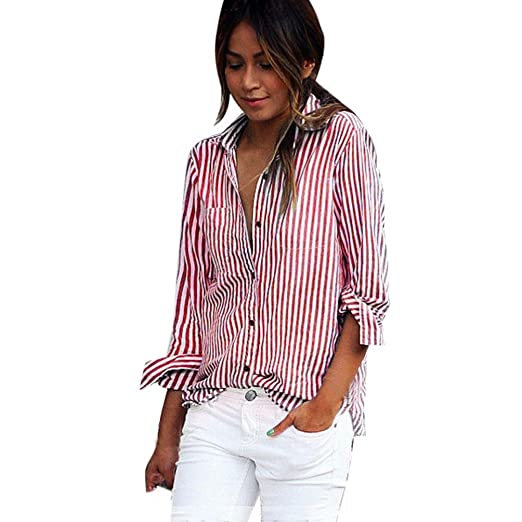 bdd18ee957c Image Unavailable. Image not available for. Color  Kangma Women Sexy  Pockets Stripe Long Sleeve Loose Tops Blouse Button-Down Shirts Red
