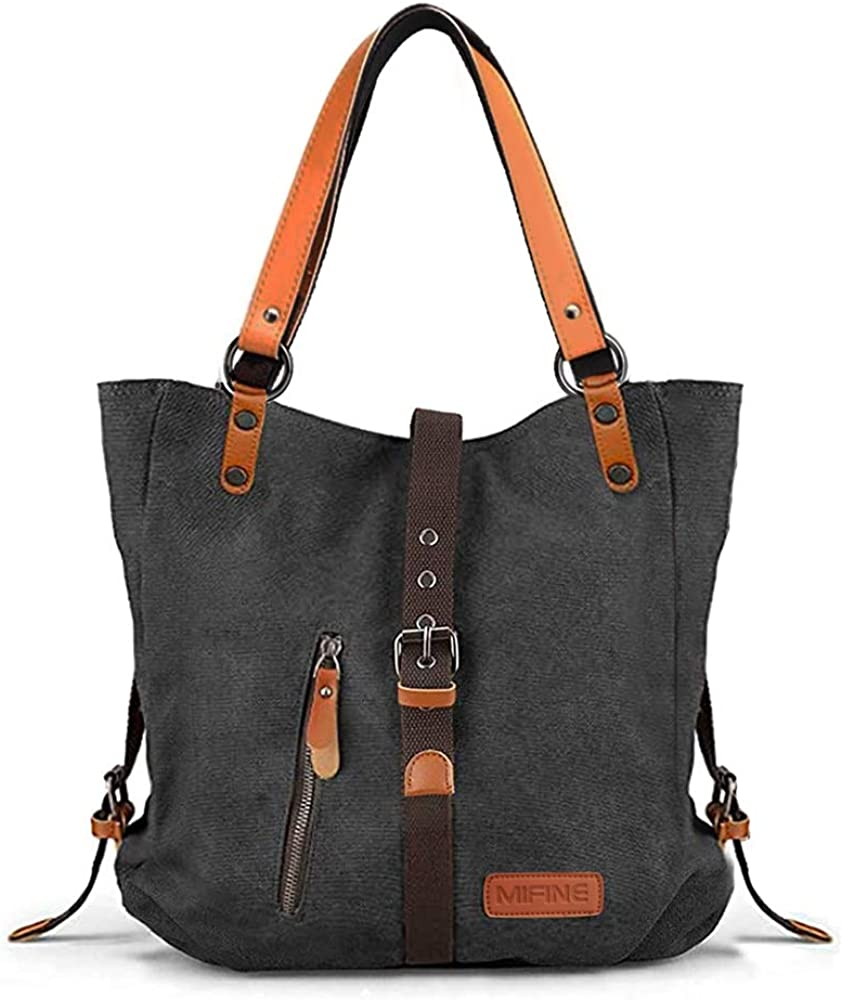 Canvas Purses and Handbags for Women - Mifine 2 in 1 Shoulder Tote Bag Convertible Backpack