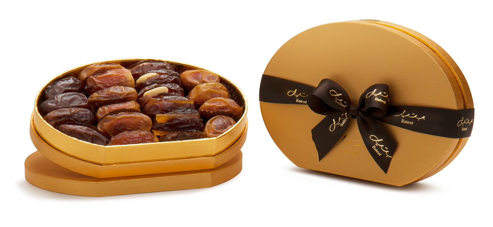 Gold Oval Gift Box with Gourmet Stuffed Dates (18 Pieces)