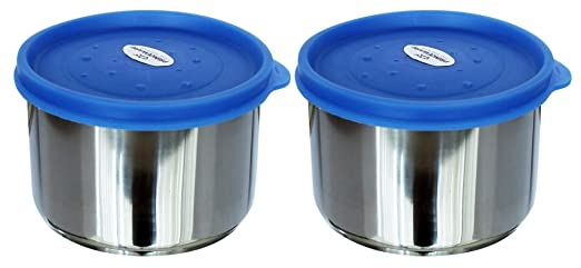 Princeware Dura Fresh Stainless Steel Container Set, 400ml, Set of 2, Silver