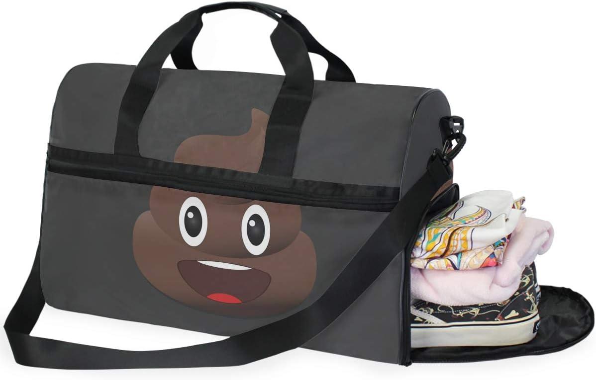 DOSHINE Bolsa de Viaje con diseño de Emoticono de Caca Sonriente, Bolsa Deportiva de Gimnasio, Bolsa de Equipaje de Gran Capacidad para Hombres y Mujeres