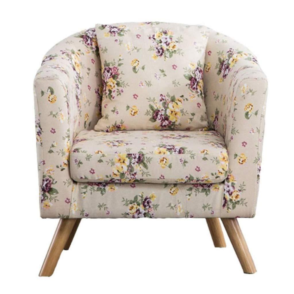 XEWNEG リネン生地浴槽チェアアームチェアヴィンテージシートチェアソファリクライニングチェア寝室用ダイニングリビングルームラウンジオフィス(58.5x65x70.5cm) (色 : Floral) B07RRHPB5Q Floral