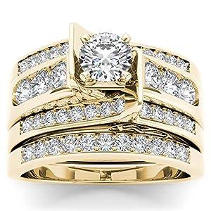 1 1/4 Carat TDW Round Cut Diamond 14k Yellow Gold Classic Bridal Set (HI I2)