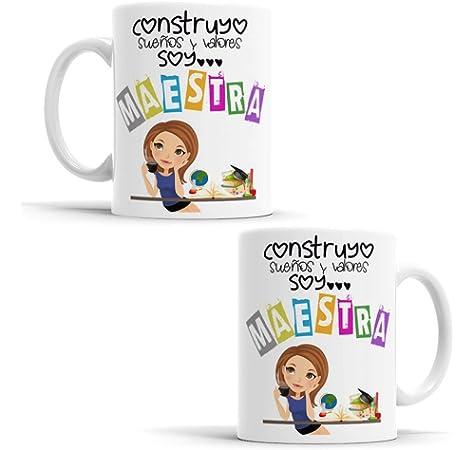 OyC Original y Creativo Taza para Maestra - Taza para la Mejor Maestra del Mundo - Taza Regalo para Maestra - Taza con Frase y Dibujo (Maestra 3): Amazon.es: Hogar