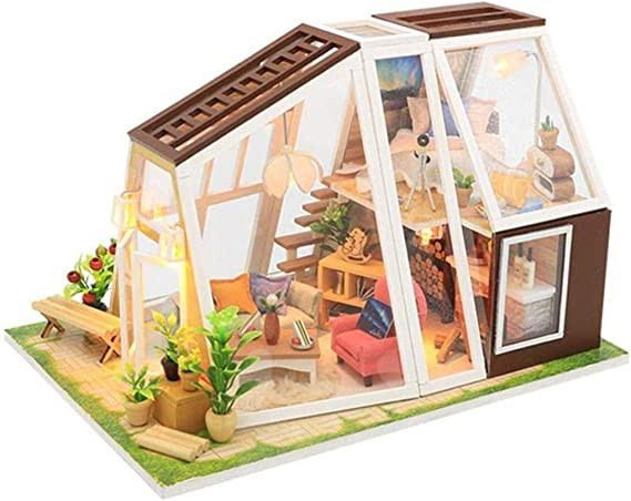 ZfgG 3D casa de muñecas DIY casa de Cristal Modelo Mini Muebles de simulación con el LED Enciende la música y el Polvo de la Cubierta Etc decoración for el hogar: Amazon.es: