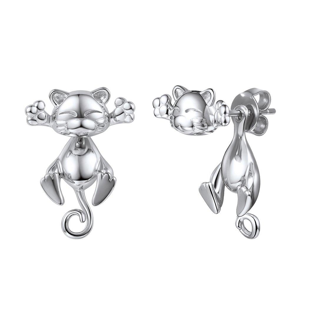 925 Silver Cute Cat Earrings Stud Solid Sterling Jewelry'' Kiss me Hug Me'' 3D Kitten Earring by SILVERCUTE