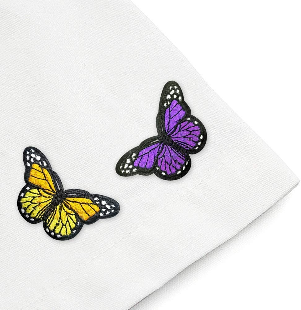 18 PCS Butterfly Flowers Iron On Patches Colorful Sunflower Sew On Appliques Embroidery Badge Logo Patch Applique Roses DIY Crafts for Backpack Cap Jacket T-Shirt Shoes Repair Decoration Patch