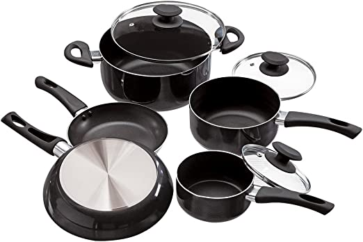 Amazon Com Ecolution Pfoa Free Tempered Glass Steam Vented Lids Elements Nonstick Cookware Set 8 Piece Gray Kitchen Dining