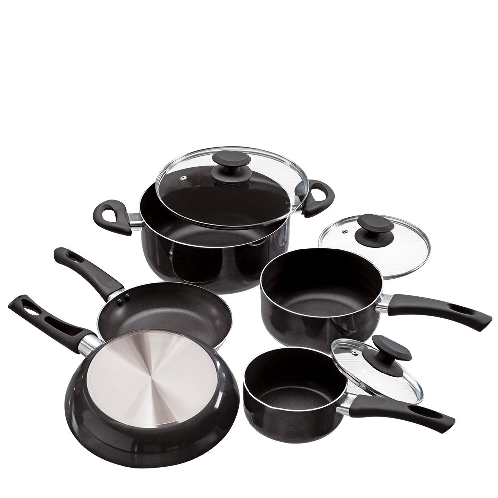 Ecolution Elements 8 Piece Nonstick Cookware Set, PFOA Free, Tempered Glass Steam Vented Lids, Grey