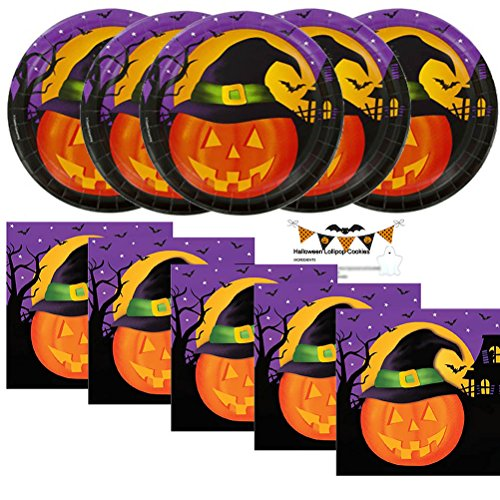 Paper Plates Halloween Dinner Set Party Supplies Kit Premium Dinnerware Pumpkin Full Moon Haunted House Spooky Lunch Dessert Plates Napkins Recipe Pack for 8 (Halloween Dinner Ideas Easy)