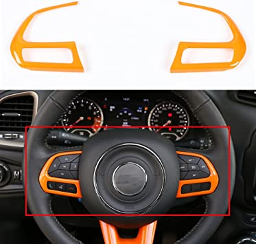 Pair Orange Steering Wheel Button Decor Frame Cover Trim For Jeep Compass 2017+