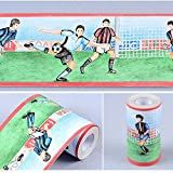 SimpleLife4U Football Soccer Self Adhesive Wallpaper Border Removable Vinyl Wall Decor Sticker for Boys Bedroom