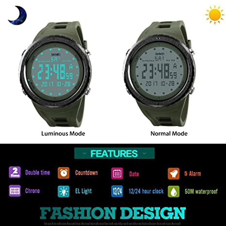 Amazon.com: Mens LED Digital Outdoor Sport Watch Waterproof 50M 164FT Water Resistant Multifunction Electronic Military 12H/24H Time Watch with Green Soft ...