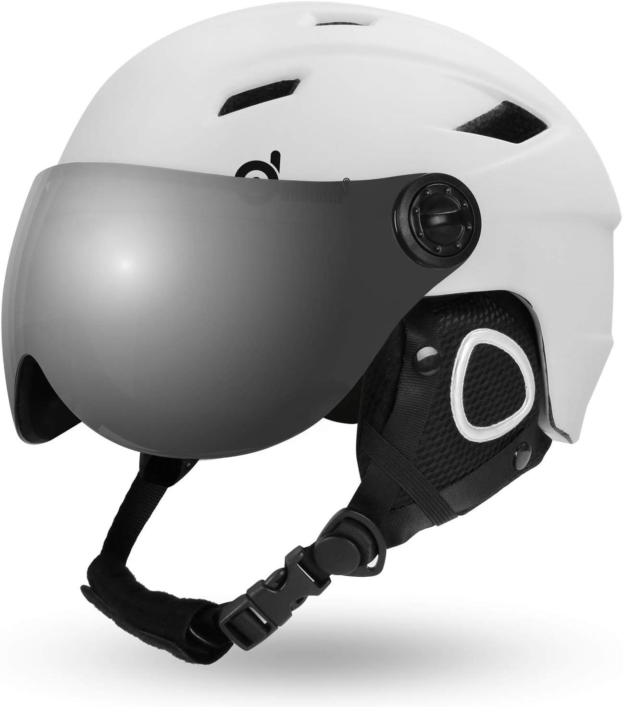 Casco Sci con Visiera UV 400 Proteczione e Antivento Casco e Occhiali da Neve per Sport Invernali Unisex Casco Sportivo per Adulti e Giovani Odoland Casco da Sci Integrale con Maschera da Sci