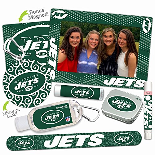 New York Jets Deluxe Variety Set with Nail File, Mint Tin, Mini Mirror, Magnet Frame, Lip Shimmer, Lip Balm, Sanitizer. NFL gifts for women Mother's Day, Stocking (Jet Magnet)