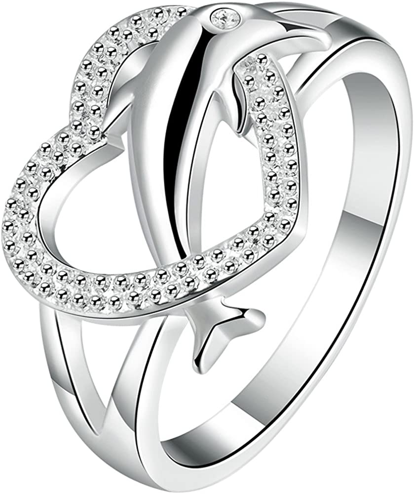 925 Sterling Silver Engagement Wedding Love Promise Ring Diamond Size 6