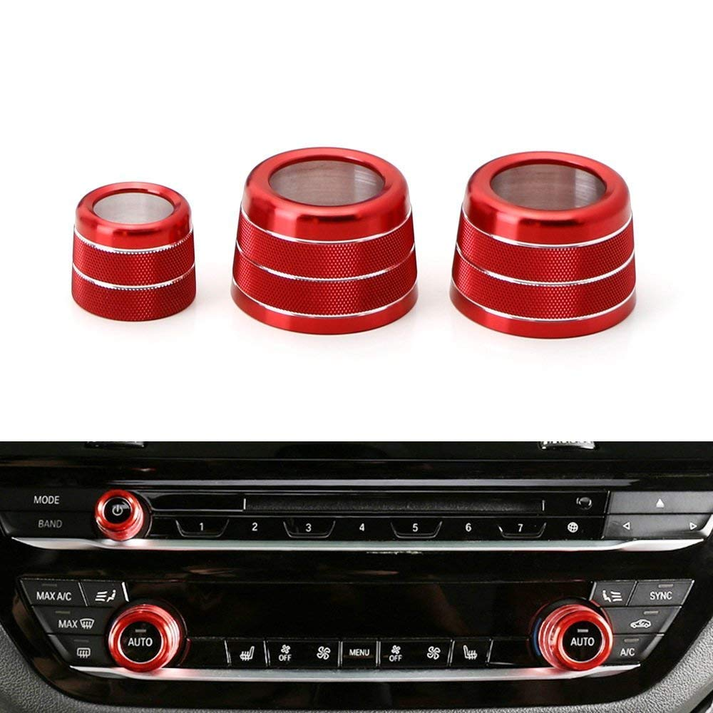 iJDMTOY 3pcs Red Anodized Aluminum AC Climate Control and Radio Volume Knob Ring Covers For 2017-up BMW G30//G31 5 Series