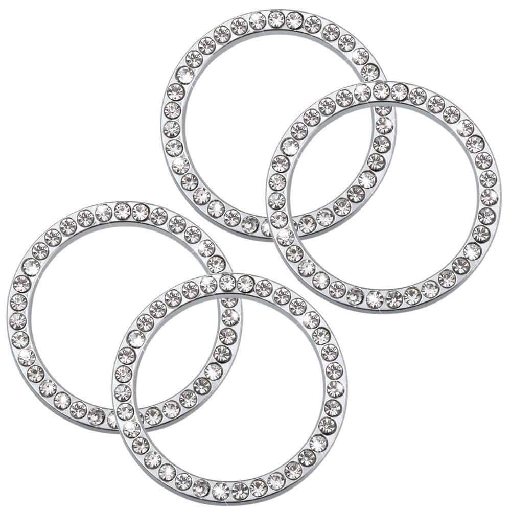 Car Accessories for Auto Start Engine Ignition Button Key /& Knobs-Silvery POZEL 4Pcs Car Decor Crystal Rhinestone Car Ring Emblem Sticker