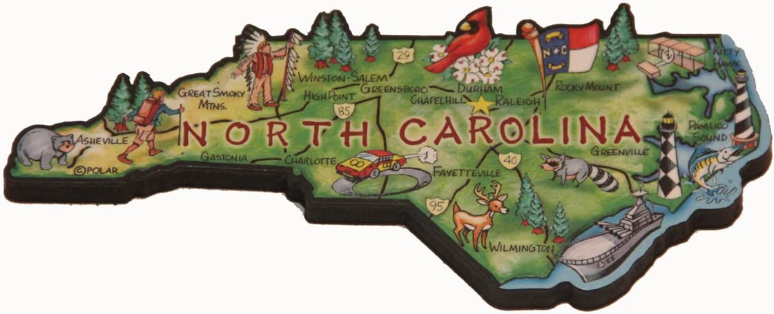 North Carolina State Decowood Jumbo Wood Fridge Magnet 5.5